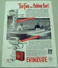 1950 Print Ad Evinrude Fleetwin & Fastwin Outboard Motors Fishing Boat