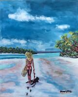 Caribbean BEACH Girl Original Art PAINTING DAN BYL Modern contemporary Huge 4x5'