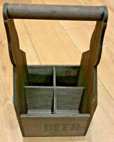 Beer Crate Wooden Drink Holder with Bottle Opener Drinks Box 4 Bottle Storage
