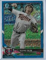 2018 Bowman Chrome Blue Shimmer refractor Blayne Enlow 69/150 Minnesota Twins