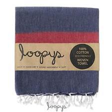 Loopys Navy & Red Stripe premium Turkish Towel Beach Bath Pool Travel Hammam