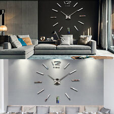 Art 3D DIY Horloge Mural Pendule Montre Clock Mirroir Sticker Décoration Maison