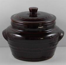 Stoneware Daisy Dot Bean Pot Lidded Marcrest Warm Colorado Brown Vintage