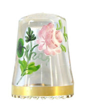 Fingerhut in Kristallglas mit handgemalter Rose und Goldrand - AE651