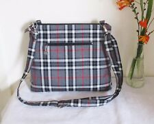 Tartan Messenger Bag Grey Thompson cross body Bag with zip closure