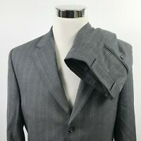 Dormeuil Mens 40R Suit 33 x 33 Pleated Tropical Amadeus Wool Gray Three Button