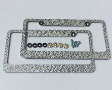 2 CLEAR AB MIX BLING 3000 RHINESTONES CRYSTALS LICENSE PLATE FRAME w/ SCREW CAPS
