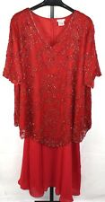 Roamans Red Beaded Silk Mother of the Bride Skirt Set Dress Plus Size 32W