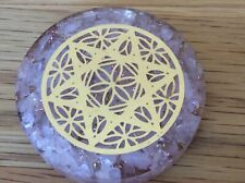 ROSE QUARTZ CRYSTAL ORGONE DISC,ORGONITE, CLEARS EMF, EASES STRESS, ATTRACT LOVE