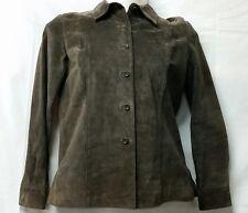 Alfani Women's Medium Brown 100% Leather Button Down Jacket Peacoat