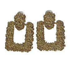 "Big Gold Tone Door Knocker Earrings Bumpy Textured Rectangle Pierced Unsigned 2"""