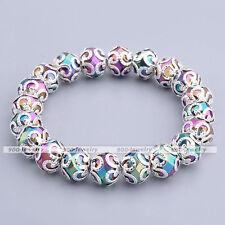 1pc Rainbow Faceted Glass Flower Enchase Bracelet Elegant Charm Stretchy Jewelry