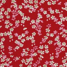 Geisha White Pink & Gold Flower Blossom Japanese Style Print on Red Fabric - FQ