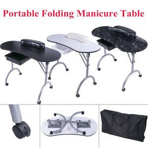 "36"" Portable Foldable Mobile Manicure Table Nail Art Desk Salon Beauty Carry Bag"