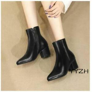 Women's Fashion Ankle Boots Ladies Women Mid Chunky Heels Side Zip Casual Shoes