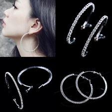 Earrings Mujer Aretes De Aro Redondo 925 Plata Cristal Pendiente Regalo