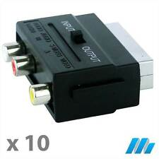10 Pack Male SCART to 3 x RCA Phono Input ADAPTER JOINER CONNECTOR CONNECTION