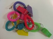 12 Whistle COIL BRACELET KEYCHAINS key chains FREE SHIP party favors