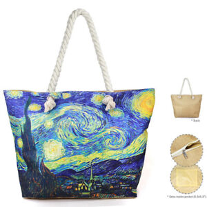 NEW The Starry Night by van Gogh Large Travel Beach Tote Shoulder Bag Purse