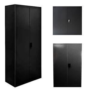 Metal Filing Cabinet Storage Lockable Home Garage Cupboard 2 Doors 3/4/5 Layers