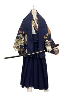 1/6 1/4 1/3 Uncle ID75 BJD Clothes Doll Outfit Japanese Hunter Kimono Dark Blue