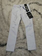 VIP Jeans Women's Size 1/2 White Sculpting Stretch Distressed Skinny Jeans NWT