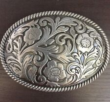 Western Plain Floral Scrollwork Rodeo Oval Belt Buckle Cowboy Rodeo