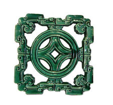 Chinese Oriental Green Glaze Sqaure Ru Yi Clay Tile cs1914