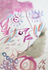 WATERCOLOR PAINTING ABSTRACT COMPOSITION FACE BIRD SIGNED