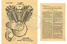 1923 PATENT  V-TWIN Motorcycle HD EVO ENGINE William S. HARLEY-DAVIDSON PM#914