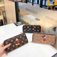 New Fashion Women's Leather Long Clutch Wallet Cartoon Phone Card Purse Handbag
