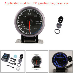 60mm LED Display Pointer Turbo Boost Gauge Bar Meter 12V 0-2Bar Vacuum Press Kit