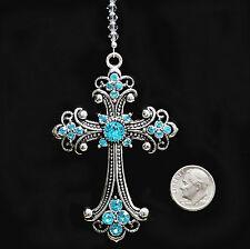 "Big 3"" Aqua Studded Cross CarCharm mw Swarovski Crystal Beads Suncatcher"