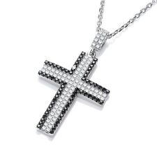 J JAZ Angel Sterling Silver Cubic Zirconia Love Cross Pendant Necklace