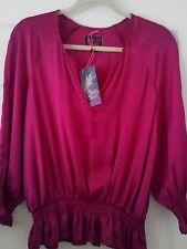 Blusa Camisa/8 (10) rango de Diseñador Mariposa Debenhams Sedoso Cerise Blusa