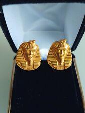 Miriam Haskell Rare Vintage Antique Tut Egyptian Sphinx Pharaoh Earrings Signed
