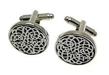 Wedding Cufflinks Celtic design Boxed Silver Cufflnks