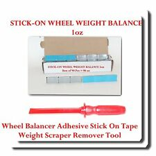 90 PC 1oz Stick-on Wheel Weight Balance + Adhesive Scraper Remover Tool