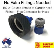 1000L IBC Water Tank 50mm Thread to Garden Hose Fitting Kit Tote Pod Adaptor 2pc
