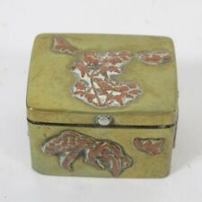 More details for japanese mixed metal box trinket pill bronze copper snuff small bird treesn