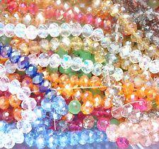 Gros Lot ♥ 1200 Perles 4mm 6mm et 8mm à facette en verre de Bohême Couleurs Vari