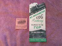1950s Mount Washington Cog Railway Brochure and Ticket Fayban New Hampshire