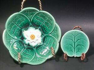 Antique Water Lily Pad Bowl and Butter Pat c.1800's (c)