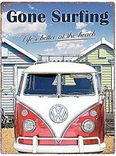 """Volkswagen Camper """"Gone Surfing..."""" metal sign  400mm x 300mm (rh)"""