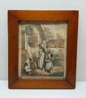 """Vintage Antique Wood Wooden Primitive Picture Frame 14"""" x 12"""" The Conversation"""