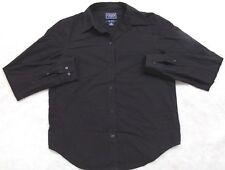 Ralph Lauren Black Dress Shirt Small Solid Long Sleeve Button Front Top Chaps