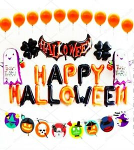 Happy Halloween Complete Party Balloons Set Orange Black Baloons Trick or Treat