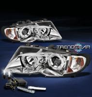 2002-2005 BMW E46 3 SERIES SEDAN HALO PROJECTOR HEAD LIGHTS W/DRL LED+6K HID KIT