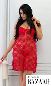 Perfect4U Plus Size Red Lace Babydoll Set Sexy Lingerie Nightwear & Thong 18-32