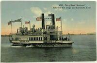 Ferry Boat Ramona San Diego Coronado California CA Postcard 1900's 1910's
